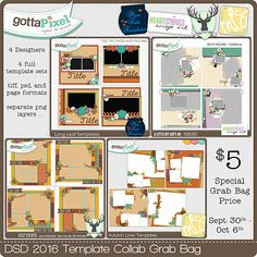 DSD 2016 Template Grab Bag :: Gotta Pixel Digital Scrapbook Store by Miss Fish Designs, HeartStrings Scrap Art, Dear Friends Designs and Manda Lane Scraps