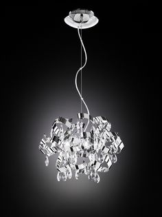 Wofi - Moulin - Delicate right to the very tips Ceiling Pendant, Pendant Lighting, Chandelier, Ceiling Lights, Hall Lighting, Interior Lighting, Polished Chrome, Clear Glass, Delicate