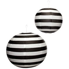 Black and White Striped Lanterns for a Wedding, Halloween, etc