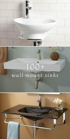 When you remodel your small bathroom, use one of these 100+ wall-mount sinks from Signature Hardware to save space without sacrificing style. Available in black, white, and glass, there's sure to be one to suit your home's feel.