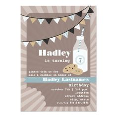Milk & Cookies Birthday - Chocolate Chip Blue Card