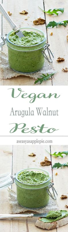 I love the bright green color and peppery flavor of this Vegan Arugula Walnut Pesto. It's thick, creamy and rich in flavor.