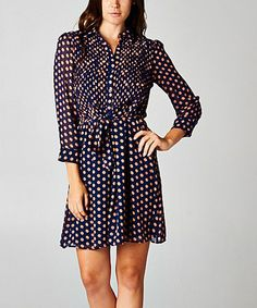 Another great find on #zulily! Navy & Orange Dot Shirt Dress by Esley Collection #zulilyfinds
