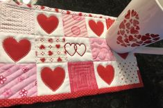 free pattern for a Checkerboard Heart mug rug! Home Sew, Mug Rugs, Quilt Patterns, Free Pattern, Quilts, Mugs, Thursday, Wednesday, Sewing