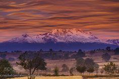 Great Sunrise with the Iztaccihuatl  Landscapes photo by CristobalGarciaferroRubio http://rarme.com/?F9gZi