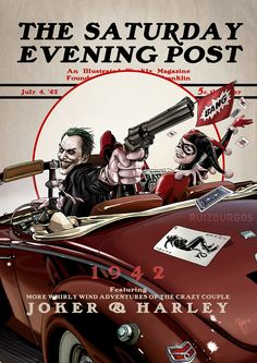 Joker and Harley 1942 - DC Comics Heroes & Villains Drawn in the Style of Norman Rockwell's Iconic Covers From 'The Saturday Evening Post'
