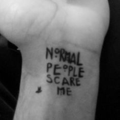 Normal people scare me.... .-. Tattoo with marker shapie xD and a bird uwu