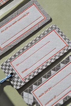 Fabric looking Letterpress Gift Tags  Set of 10 by WordLetterpress, $12.00
