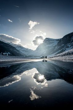 Beautiful panoramic view with mountain and sky reflections.