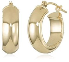 Classic gold hoops take on a modern design with the Duragold Yellow Gold Half Round Hoop Earrings. Each gold hoop contains a half round desig . Round Earrings, Gold Hoop Earrings, Beautiful Earrings, Women's Earrings, Gold Hoops, Coin Jewelry, Jewelery, Gold Jewellery, Jewelry Sets