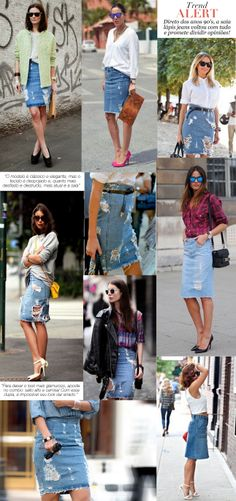saia lápis jeans tendencia trend fashion moda borboletas na carteira