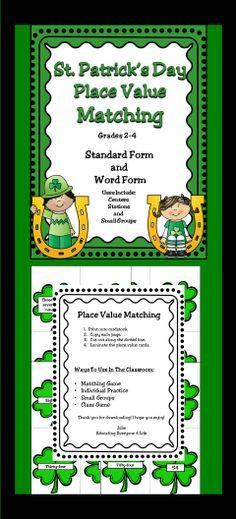 St. Patrick's Day Place Value    #Common Core Math, # Place Value, # Math Centers