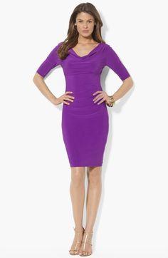 Lauren Ralph Lauren Cowl Neck Matte Jersey Dress (Petite) available at #Nordstrom
