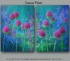 Large wall art, Colorful abstract, Floral, Garden, Oversized canvas print set, Botanical, Bedroom decor Jewel tone, Pink, Blue Green Artwork