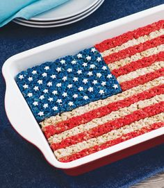 Fourth of July American Flag Rice Crispy Treat - from Super Cute Crispy Treats