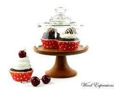 Wooden Cake Stand  with Glass Dome / Pedestal by Wood Expressions