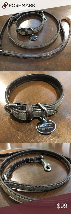 Coach dog collar and leash sm/med dog Great condition. Used the smallest setting on my 12 pound dog. Better fit for medium dogs. Coach Other