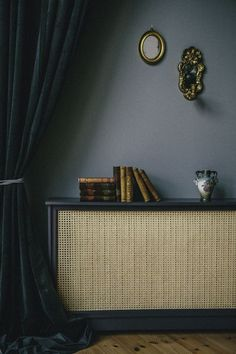 caning radiator cover, dark grey walls