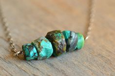 Rough Turquoise Necklace, rough stone jewelry, raw gemstone, December birthstone, blue stone on Etsy, $65.00