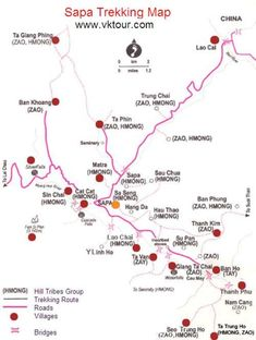 Sapa trekking map See other ideas and pictures from the category menu…. Faneks healthy and active life ideas Travel Route, Travel Maps, Travel Info, Asia Travel, Vietnam Map, Vietnam Travel Guide, Hanoi, Sa Pa, Luang Prabang