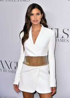 Sara Sampaio attends the ANGELS by Russell James book launch and exhibit hosted by Cindy Crawford and Candice Swanepoel at Stephan Weiss Studio on September 2018 in New York City. Sara Sampaio, Victoria Secret Lingerie, Victoria Secret Fashion Show, Blazer Dress, Coat Dress, White Tuxedo, Tuxedo Dress, Ny Fashion Week, Lingerie Models