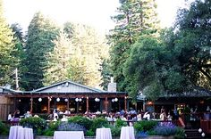 The Colas wedding reception location on the terraced deck at The Mountain Terrace in Woodside, CA