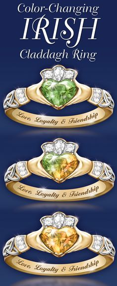 Celebrate reflections of the Emerald Isle with this color-changing Irish Claddagh ring.