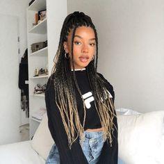 Cute Box Braids Hairstyles, Box Braids Hairstyles For Black Women, Black Girl Braids, African Braids Hairstyles, Braids For Black Hair, Girl Hairstyles, Curly Hair Styles, Natural Hair Styles, Box Braids Styling