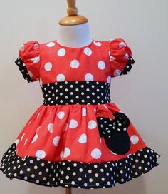 Custom Made Outfits For Girls | Girls Hand Made Custom Boutique Minnie Mouse Red Dress Puff Sleves 12M ...