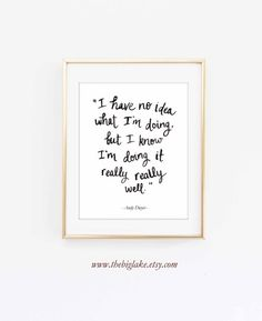 Inspiring words from Andy Dwyer, as heard on the TV show Parks & Rec: I have no idea what Im doing, but I know Im doing it really really well.  Print