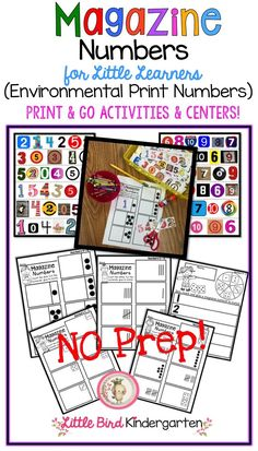 Magazine Numbers for Little Learners (Environmental Print Numbers) NO PREP! Easy for you yet purposeful and fun for them! So many great skills here!