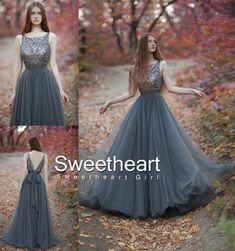 Gray A-line round neck tulle sequin long prom dress for teens, unique evening dress, modest prom dress long