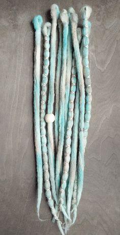 10 Seafoam Tie-Dye Wool Synthetic Dreadlock by PurpleFinchStore. Dreads for  summer?