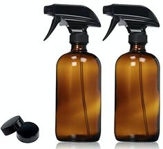 Empty Amber Glass Spray Bottle - Large 16 oz Refillable Container for Essential Oils, Cleaning Products, or Aromatherapy - Black Trigger Sprayer w/ Mist and Stream Settings-2 Pack