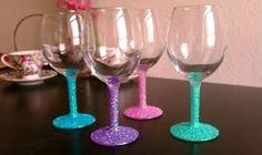 Cupcakes & Couture: DIY Glitter Wine Glasses
