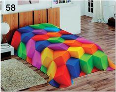 Koc kolorowy w rozmiarze 155x220 z efektem 3D