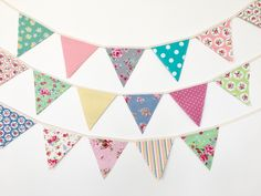 Petite Shabby Chic Fabric Bunting, Banner, Garlands (set of 3) by BerryAlaMode on Etsy