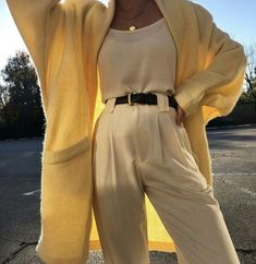 high yellow pants, blouse and cardigan. Visit Daily Dress Me at the Dail . - Outfits for Work high yellow pants, blouse and cardigan. Visit Daily Dress Me at the Dail . Look Fashion, Korean Fashion, Autumn Fashion, Fashion Outfits, Womens Fashion, Fashion 2018, Feminine Fashion, Ladies Fashion, Fashion Styles