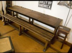 Four seat Hazelnut school desk, no metallic nails to hold the base, the nails are in timber. c.1880-1890. The school desk became smaller only two seats after the war, then in metal in the 60s.