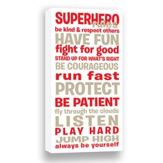 Superhero Rules Gallery Wrapped Canvas  Boy's Room by SadiesCanvas, $76.00