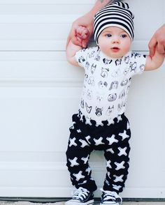 Beanie and Pants by JaydenandOlivia | Onesie by Bee Coolest Company | shoes by Converse | Model Baby | Beanie Baby | Photography