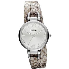 Fossil Women's Georgia Leather Snake Print Skinny Strap Watch ($103) ❤ liked on Polyvore featuring jewelry, watches, anaconda jewelry, fossil watches, leather jewelry, wrap watches and leather watches