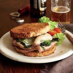 Roast Beef, Broccoli Rabe, and Provolone Sandwiches Recipe | Cooking Light #myplate #protein #wholegrain #dairy #veggies