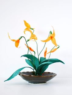masdevallia orchid, paper orchid, paper plant, succulent, crepe paper flower, flower, hand made, papetal