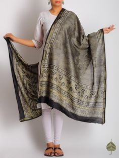 Buy Olive-Black Chanderi Zari Border Ajrakh Printed Dupatta By Jaypore Online at Jaypore.com