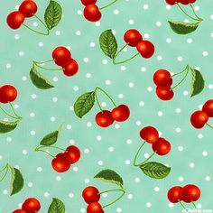 Fresh Picked - Sour Cherries & Polka Dots - Azure