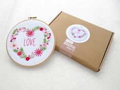 Floral Embroidery Kit Valentines DIY Hoop Art Set Pink Love Heart Needlework Kit Modern Flower Embroidery Pattern Valentines Day Gift by OhSewBootiful #embroidery #needlework #embroiderypattern #hoopart #diyembroidery #diyhoopart #embroiderykit #needlework #diygift #giftforcrafter