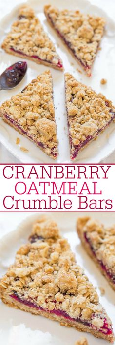 Cranberry Oatmeal Crumble Bars - Fast easy no mixer bars with juicy cranberries and big crumbles! Perfect for breakfast snacks or dessert! Soft chewy hearty and so good! No Bake Desserts, Just Desserts, Delicious Desserts, Dessert Recipes, Yummy Food, Drink Recipes, Cranberry Recipes, Holiday Recipes, Cranberry Bars