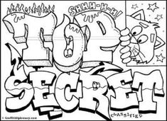 Top Secret Graffiti - free graffiti printables -graffiti coloring book