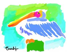 Art Print 16x20 Pelican by Kelly Tracht, Lilly Pulitzer Style Painting Palm Beach Regency